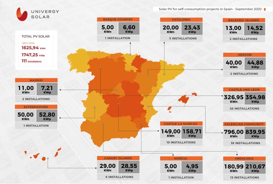 Map of solar self-consumption facilities in Spain